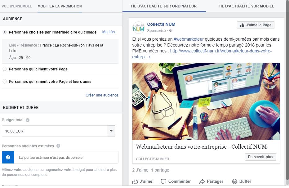 campagne facebook ads la roche sur yon